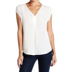 Cap Sleeve V-Neck Blouse - Antique White